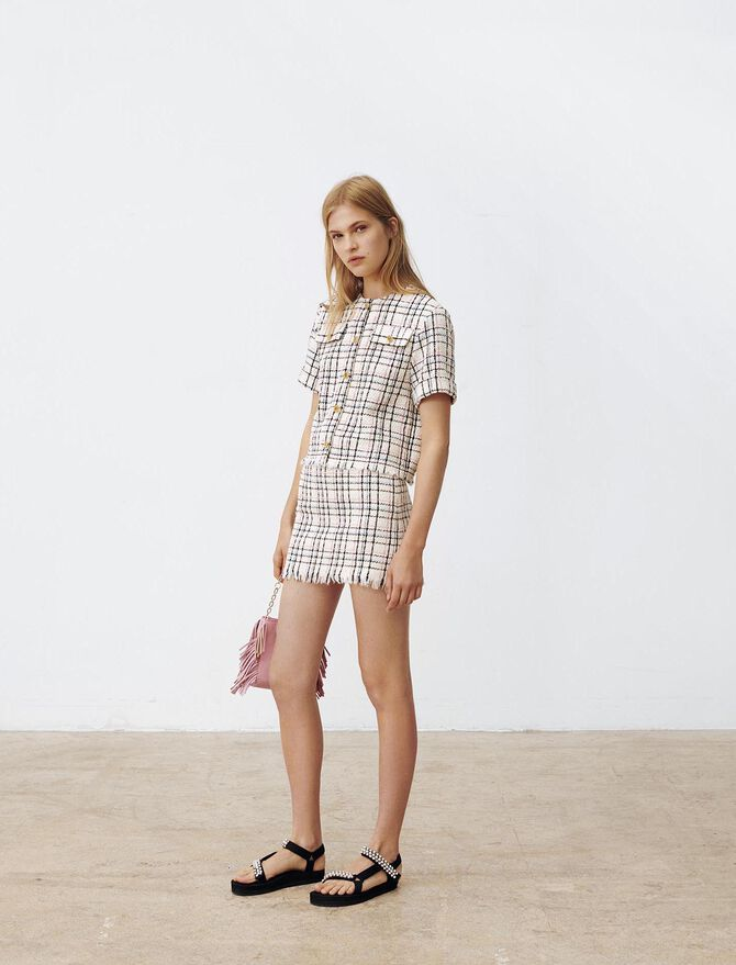 Tweed-style top with fringing -  - MAJE
