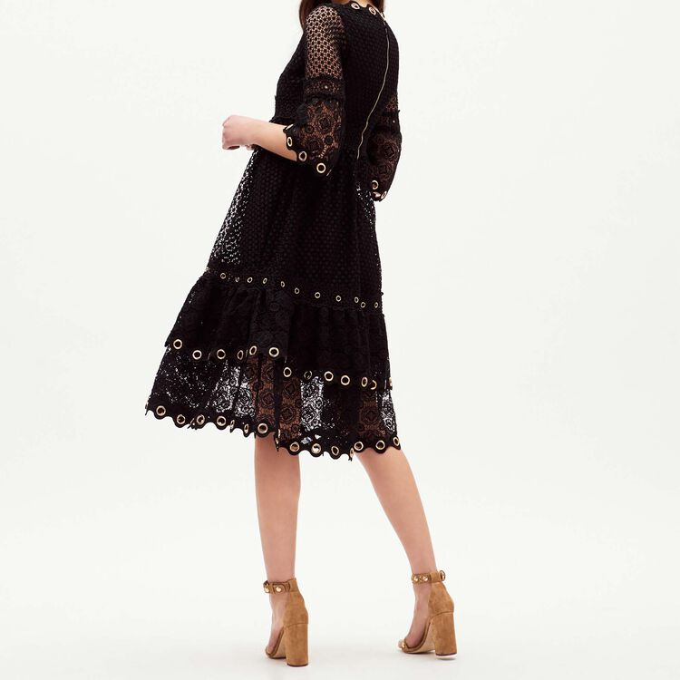 Long guipure lace dress : Majexclusive color Black 210