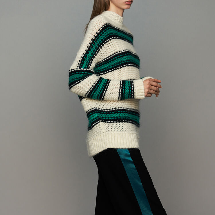Oversize sweater in tricolor knit : Ready to wear color Green