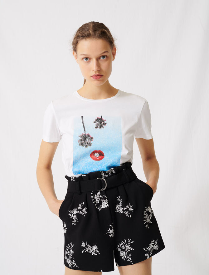 White screen-printed T-shirt - All the collection - MAJE