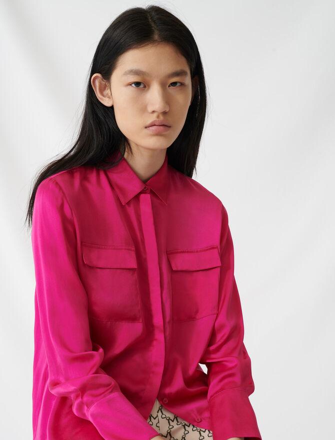 Fuchsia silk satin shirt - Tops & Shirts - MAJE