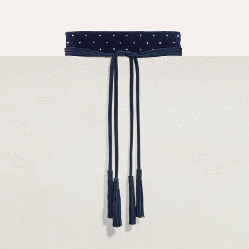 Wide tie belt with studs : Belts color Navy