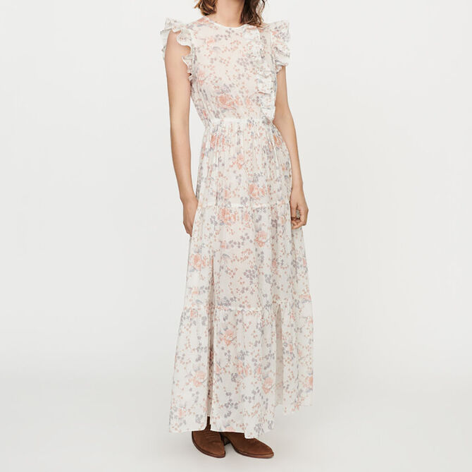 Long floral-print ruffled dress - staff private sale 20 - MAJE