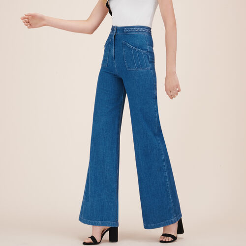 Wide-leg jeans with woven detail : Trousers & Jeans color Denim