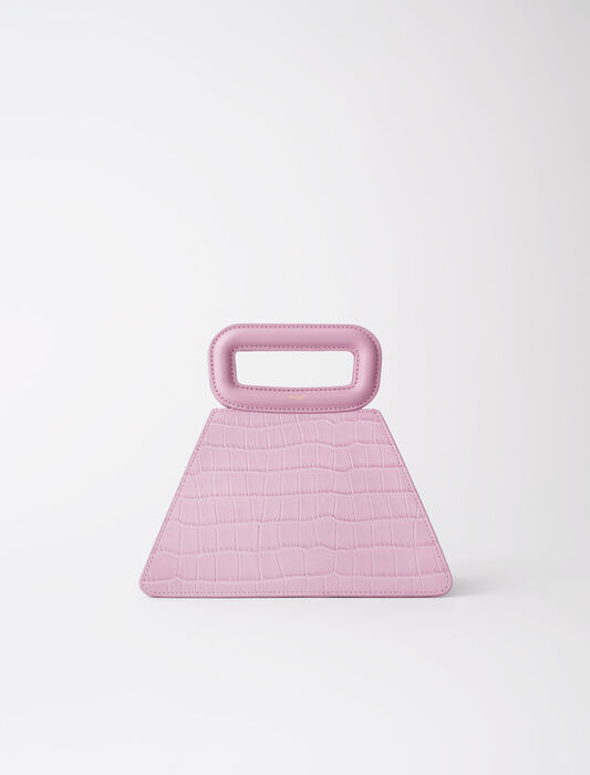 Pyramid bag with embossed leather handle : All bags color Sugared pink