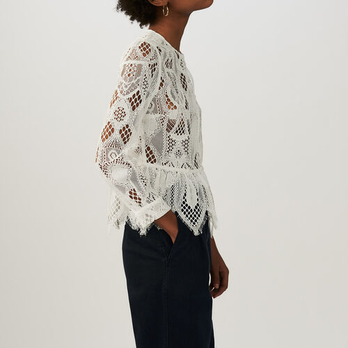 Lace basque top : Shirts color Ecru