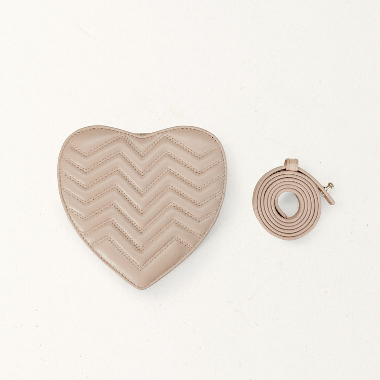 Quilted leather heart saddlebag : Summer collection color Nude