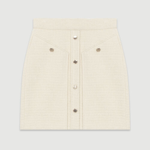 Short tweed-style skirt : Skirts & Shorts color Ecru