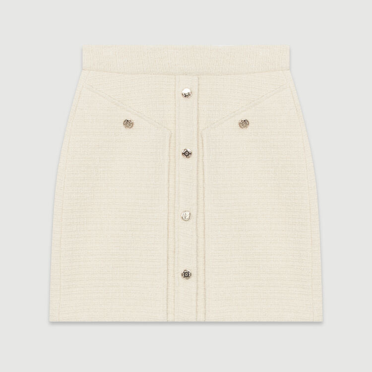 Short tweed-style skirt : New in : Summer Collection color Ecru