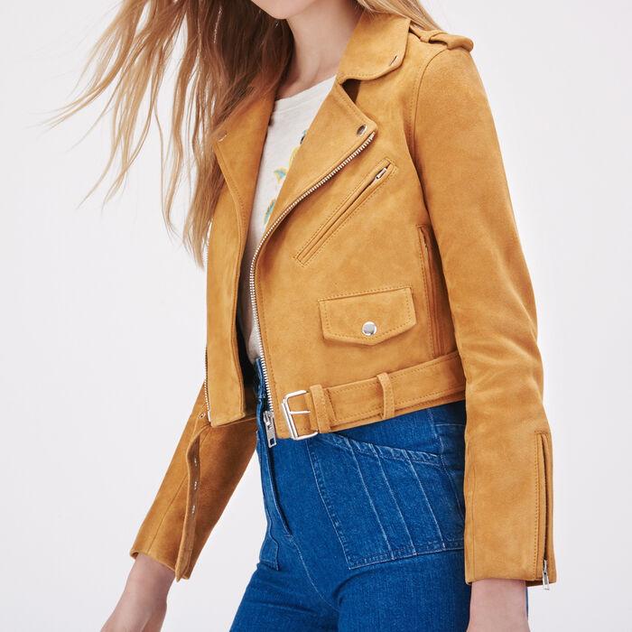 Suede leather jacket - Coats & Jackets - MAJE