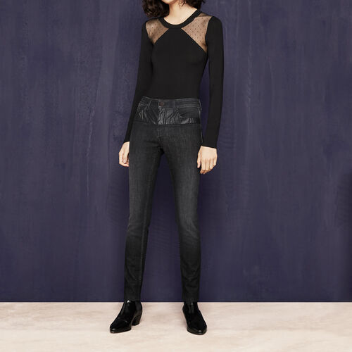 Slim-fit jeans in imitation leather : See all color Grey