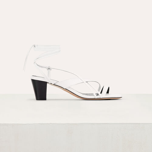 Leather sandals with tie-up ankle lace : null color White