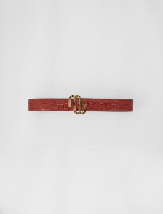 Croc-effect leather double M belt : Lastchance_ALL color Black