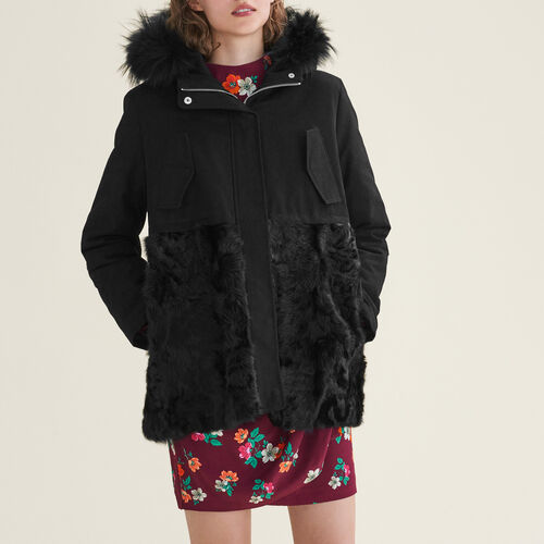 Parka in cotton and curly sheepskin : Coats & Jackets color Black 210