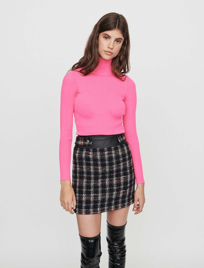 Tweed-style contrast pencil skirt - -40% - MAJE