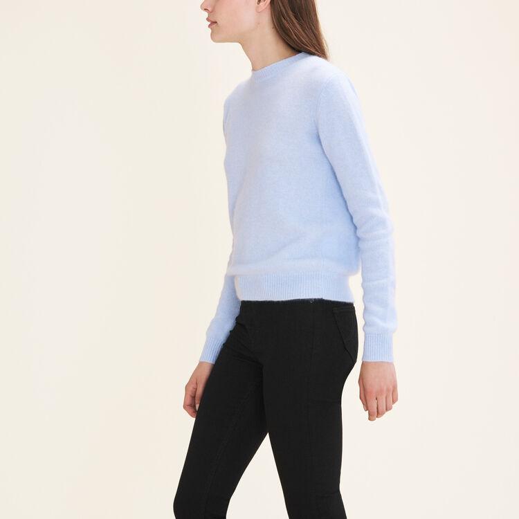 Backless angora jumper : Knitwear color Blue Sky