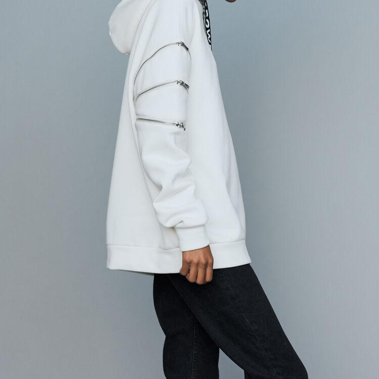 Hooded sweatshirt with zips : Urban color White