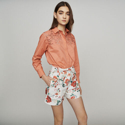 Floral-print denim shorts : Skirts & Shorts color Printed