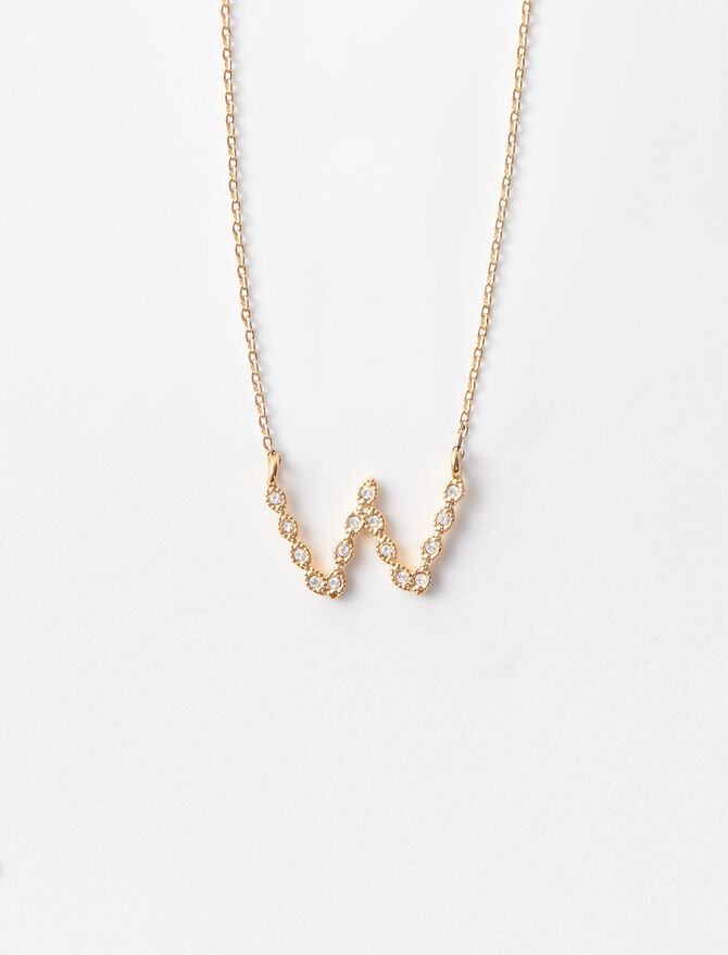 Rhinestone W necklace -  - MAJE