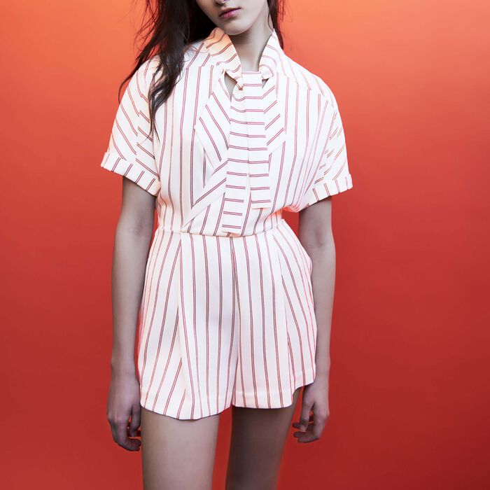 Draped striped romper : Skirts & Shorts color Stripe