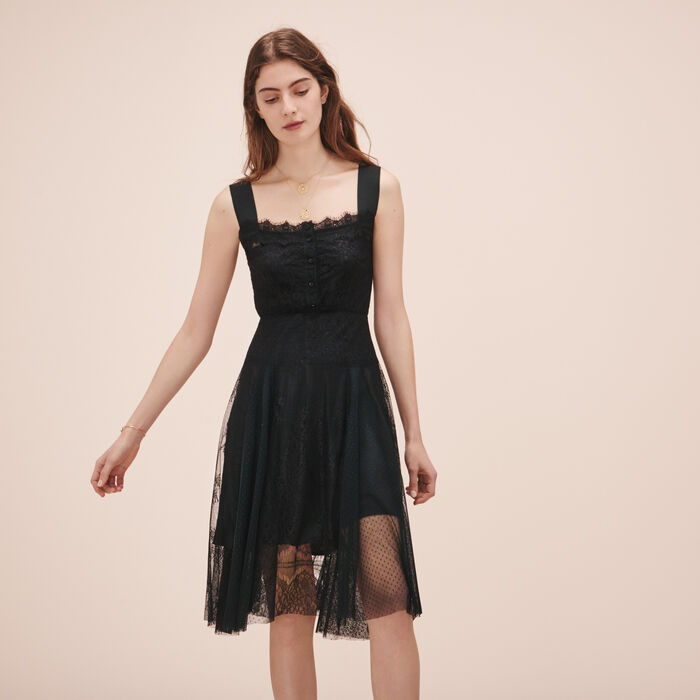 Long lace and dotted Swiss dress - See all - MAJE