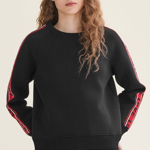 Neoprene sweatshirt with bands : Knitwear color Black 210