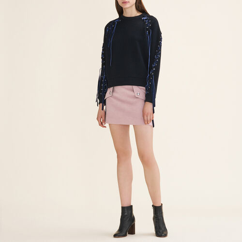 Fleecy sweatshirt with lacing : Sweaters & Cardigans color Black 210