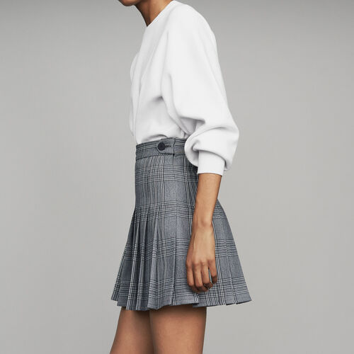 Pleated skort in jacquard : Ready to wear color CARREAUX