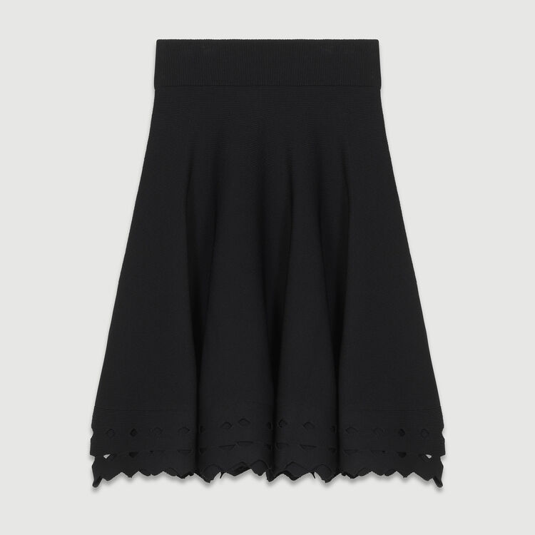 Sheer effect knit skirt : Skirts & Shorts color Black 210