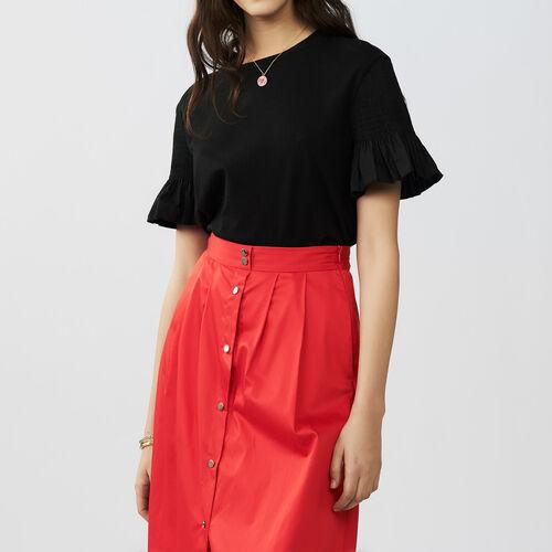56b48c09e899 Tops true Cotton flounce t-shirt   Tops color Black 210
