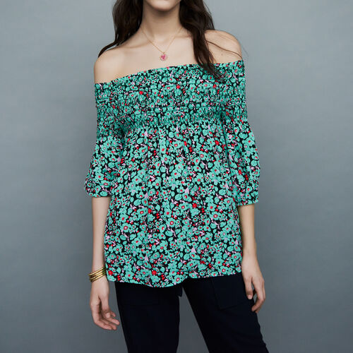 Printed cold-shoulder top : Tops color PRINTED