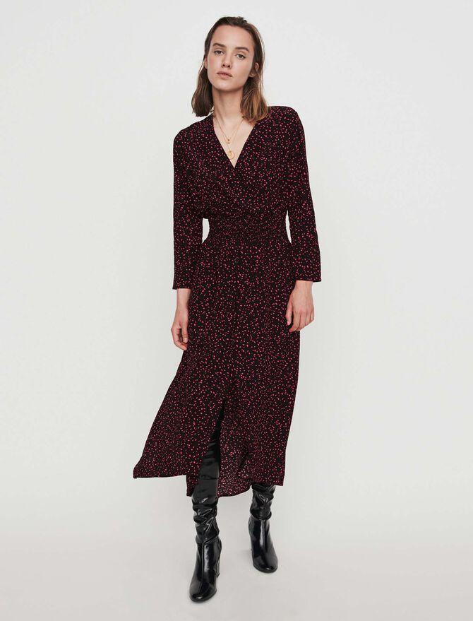 Printed-crepe smock dress - SoldesBE_ALL - MAJE