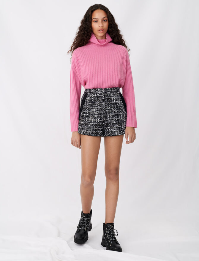 Tweed-style shorts with contrast trims - Skirts & Shorts - MAJE