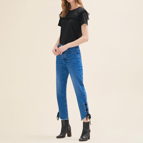 Boyfriend-cut cropped jeans : Trousers & Jeans color Blue