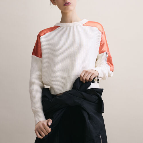Cropped jumper in full cardigan rib - Knitwear - MAJE