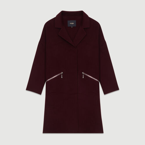 Coat in double-face wool : Coats color Burgundy
