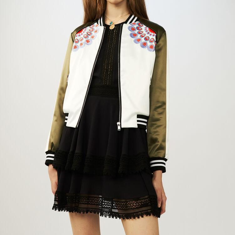 Embroidered satin bomber jacket : Jackets color Khaki