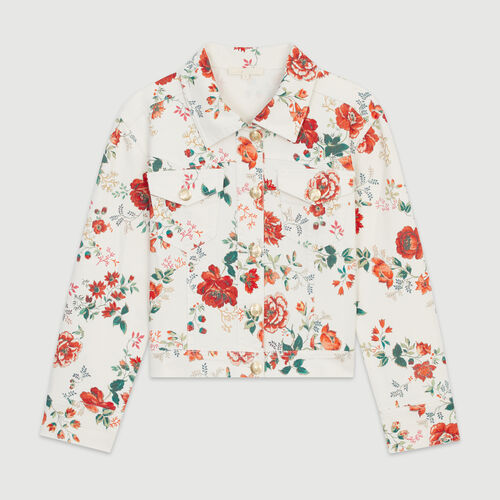 Denim jacket with floral print : Blazers color Printed