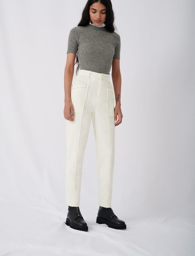 Corduroy trousers with studs - Trousers & Jeans - MAJE