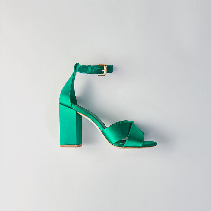 Heeled satin sandals : Slipper color GREEN
