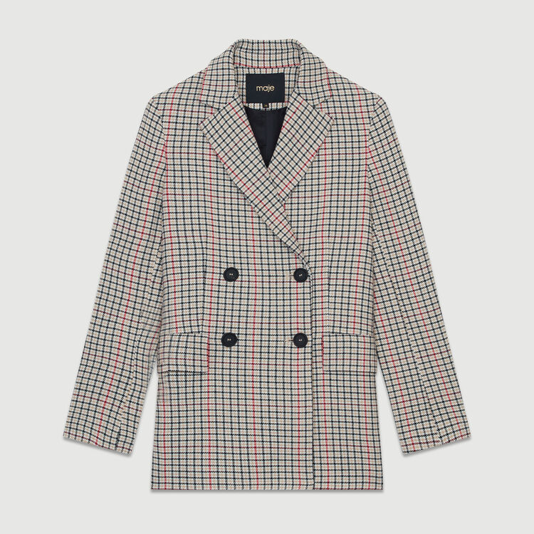 Plaid wool-blend blazer : Blazers color CARREAUX