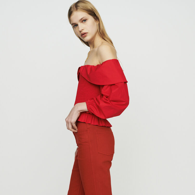 Smocked top with bare shoulders : Tops & Shirts color Red