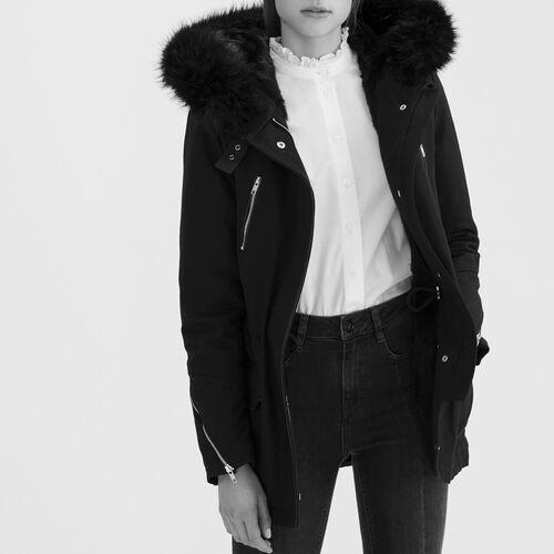 Cotton canvas parka : Coats & Jackets color Black 210
