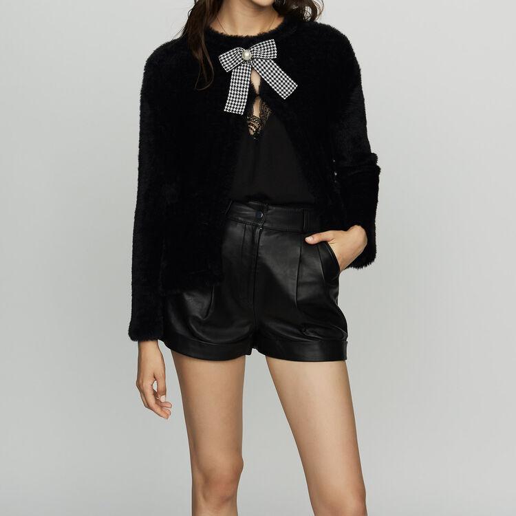Faux fur cardigan : Knitwear color Black 210