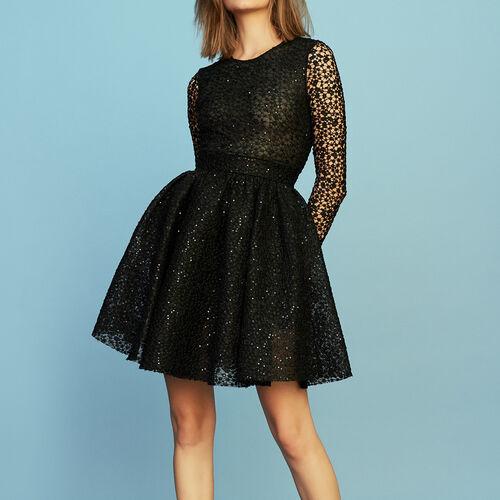 Long-sleeved skater dress : Dresses color Black 210