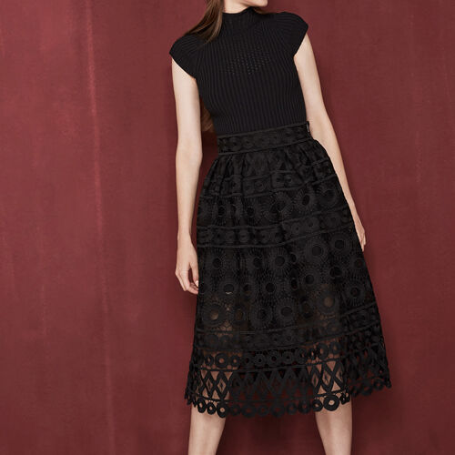 Midi bonded guipure skirt : Skirts & Shorts color Black 210