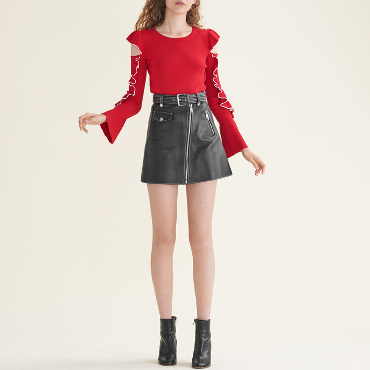 Knitted off-the-shoulder jumper : Sweaters & Cardigans color Red
