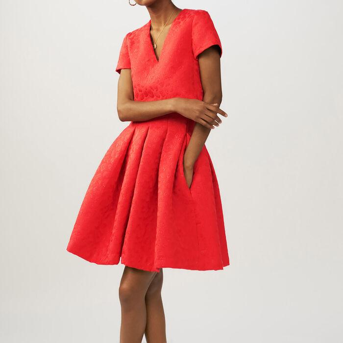 Jacquard leopard sleeveless dress : Dresses color Red