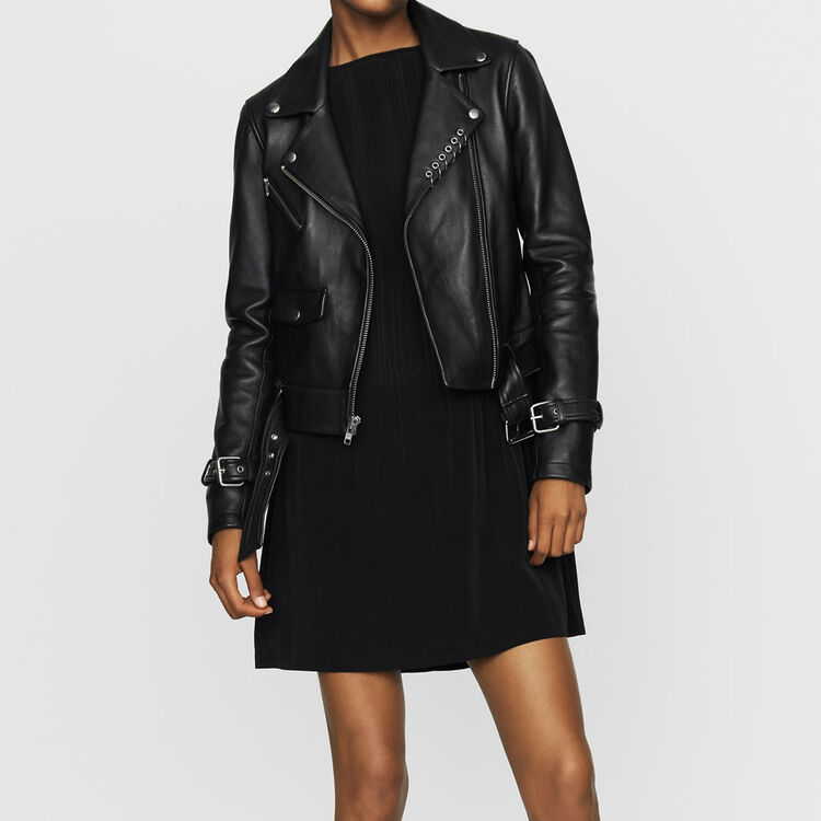 Biker-style leather jacket : Jackets color BLACK