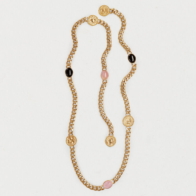 Chain belt with stones and medallions : Belts color GOLD